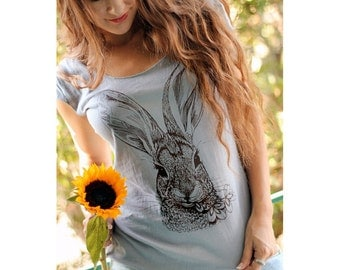 Brush Rabbit tshirt - eco-friendly brown ink screenprint on slate grey cotton scoop neck - sizes S, L