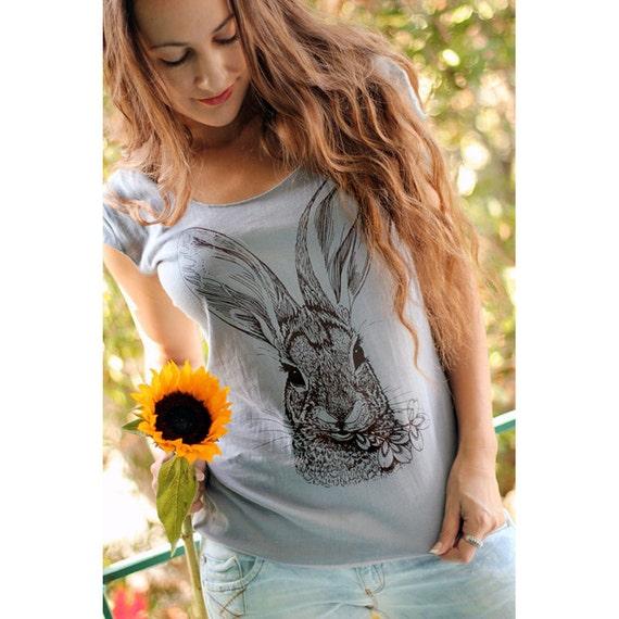 Brush Rabbit tshirt - eco-friendly brown ink screenprint on slate grey cotton scoop neck - sizes S, M, L