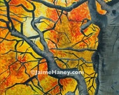 Looking up into tangled branches of old gnarly tree with beautiful leaves painting 8x10 print