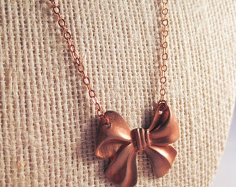 Vintage Copper Bow Stamping Pendant Necklace