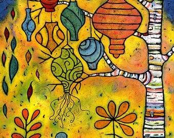 8 x 10 Lanterns in Aspen Tree Print - Lanterns in a Midnight Garden Print
