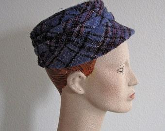 CLEARANCE Vintage 1960s Hat - Purple Tweed Cap by Utah Tailoring Mills - 60s Newsboy Cap S