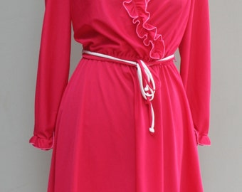 1980s Vintage Dress - Hot Pink Secretary Dress with Ruffles - 80s Day Dress - Flirty Fun Cute Girly  Feminine - 38 Bust