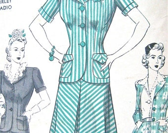 Vintage late 1930s or early 40s suit sewing pattern by Hollywood 682.  Bust is 32 inches.