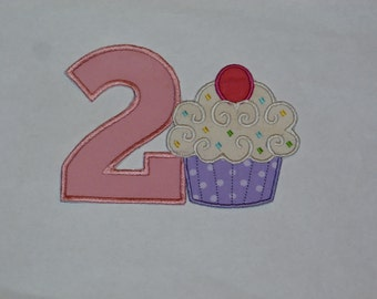 """Birthday Embroidered Iron On Applique  """"Cupcake""""  SEVERAL OPTIONS"""