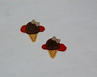 "Ice Cream Cones Felt Clippies ""Chocolate""    ---READY TO SHIP---"