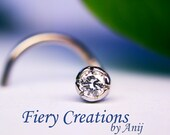 """Nose Screw / Tragus stud  """"Starlit Flower"""" - Platinium & 18k SOLID White Gold with a 0.03ct Starry Fine White Diamond, OOAK"""