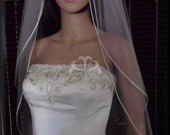 Wedding Veil Double Tier Satin Cord Edge, Bridal Veil SHEER RE30/40X52