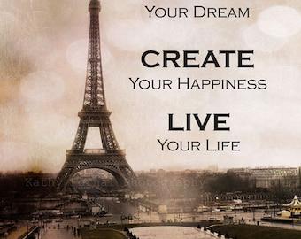 Paris Photography, Eiffel Tower Sepia, Typography Life Quotes, Dreamy Eiffel Tower Photography, Paris Sepia, Paris Fine Art Wall Art Prints