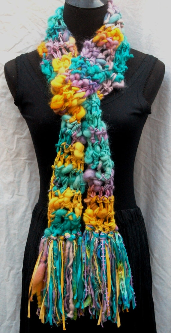 40% Off Sale Yellow, Lavender & Blue Handmade Crochet Scarf One Of A Kind