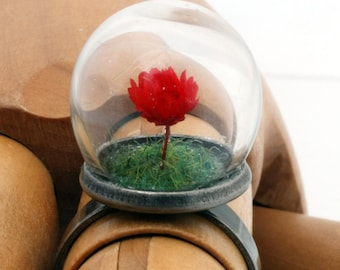 Mini red rose glass dome globe ring with green flocked grass- adjustable gunmetal or silver-plated brass ring. Valentine's jewelry
