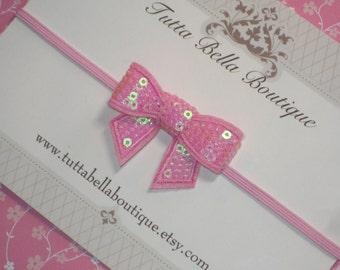 Candy Pink Sequin Bow Headband, Baby Headbands, Pink Hair Bow Headband, Baby Hair Bow, Baby Headband, Toddler Headband, Newborn Headband