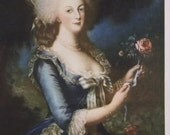 Beautiful Print of Marie Antoinette - Great Dress, Hat and Hair - Antique Art Print - 1936