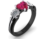 Steampunk  WOW Ring, Horde Engagement Ring, HordeMy Love Gamer Ring, Heart Shaped Ruby Gamer Ring