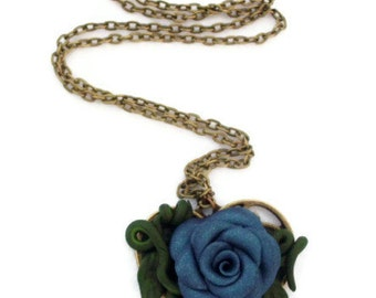 Necklace Blue Polymer Clay Rose