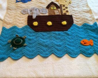 Made to Order Boy or Girl Noah's Arc Ark Baby Afghan Blanket Crochet Crocheted Handmade New Unique