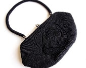 Make an OFFER Vintage beaded Purse by Du-Val 1950s so Chic jet black Deco style pattern - popgoesmyvintage
