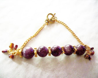 Bar Bracelet, Lipidolite,Gold Findings, Boxy Style, Bendable