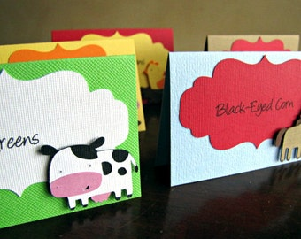Barnyard Party Food Tent Cards, Barnyard Party Place Cards, Barnyard Party Food Labels, Farm Birthday Party, Farm Party Food, Barn,Set of 10
