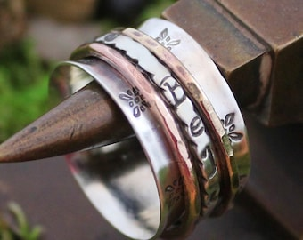 """Spinner Ring """"Believe"""" with Copper & Brass"""