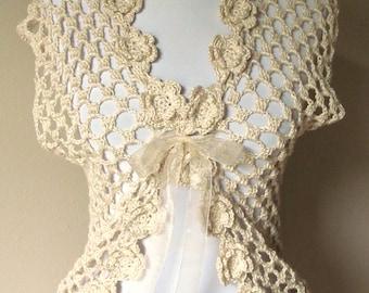 Ladies Beautiful Irish Crocheted Floral Vest, Cream Vest, Dressy Top, Wedding Wrap, Wedding Top, Ecru Crochet Summer Top, Cream Summer Top