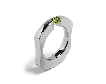 Tension Set Peridot Ring int Stainless Steel