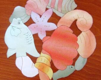 Vintage Applique Doily Seashell Fish Round Handmade Tropical Design Orange Gold Purple