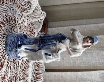 Vintage Victorian Figurine Gypsy Woman Dog Porcelain Blue and White Gold Trim 1920s