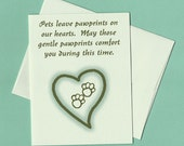 Pet Sympathy Card -- Pawprints on our Hearts - card ready to ship