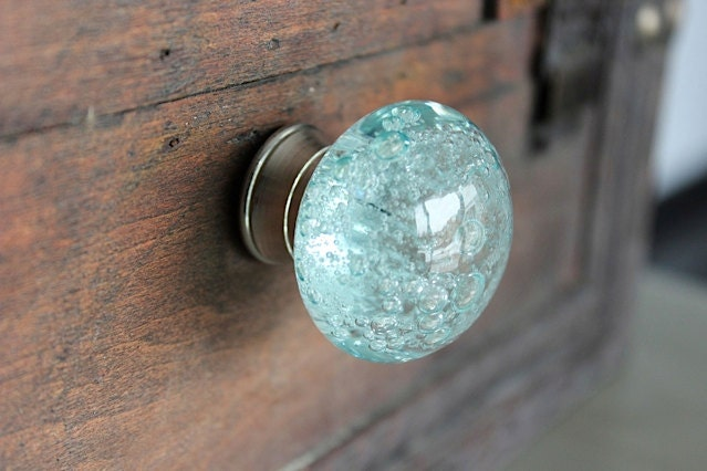 backordered glass drawer knobs with bubbles in light blue and silver toned hardware ck16 - Decorative Drawer Knobs