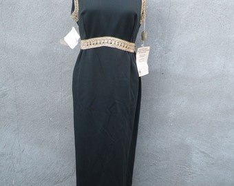 Vintage 1960s NWT Black and Gold Maxi Dress (Large)