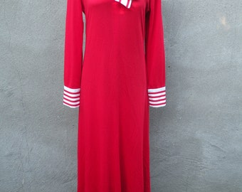 1970s Red Maxi Dress With Red and White Striped Bow (Medium)