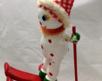 Skiing Wooden Clown - Ski Jump- Christmas Tree Ornament