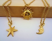 Best friend gift, friendship necklace. Sun, moon, stars jewelry set. 2 or 3 best friend necklaces. Gold charm jewelry. Celestial jewelry.