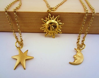 Best friend gift, friendship necklace. Sun, moon, stars jewelry set. Set of two or three necklaces. Gold charm jewelry. Celestial jewelry.