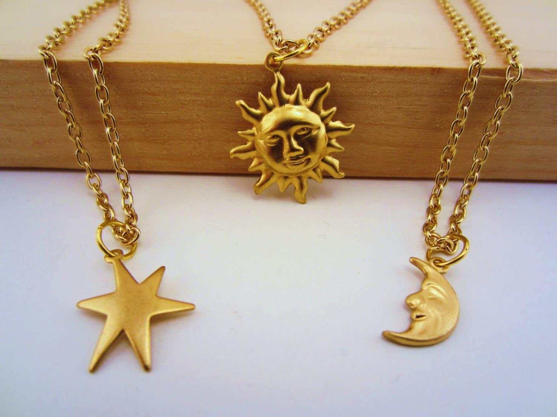 3 Best Friend Necklace Sun Moon Stars Best Friend Set Gold