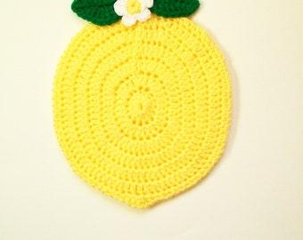 Crochet Potholder Lemon Fruit Pot Holder Yellow Hot Pad Trivet Table Decor Handmade Kitchen Decor Housewarming Gift