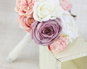 Silk Bridesmaid Bouquet Peony Peonies Roses Ranunculus Country Wedding Lace (Item Number 130110)