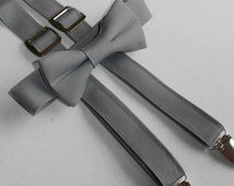 Gray Bowtie and Suspender Set - Infant, Toddler, Boy - 2 weeks before shipping