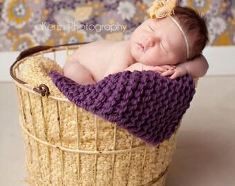 Knit Mini Baby Blankets Plum Newborn Photography Prop
