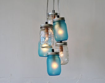 Lake Fog Mason Jar Chandelier, 3 Frosted Blue & 3 Clear Jars, Hanging Pendants Lighting Fixture, Wire Into the Ceiling, BootsNGus Lamps