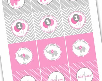 Pink and Gray Elephant Cupcake Toppers - Print at Home