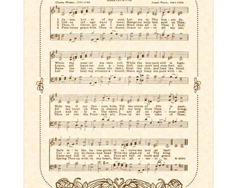 JESUS LOVER Of My SOUL --- 8 x 10 Antique Hymn Art Print on Natural Parchment in Sepia Brown Ink Sheet Music Other Colors Available