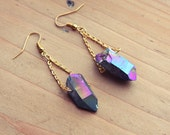 Rough Rainbow Aura Quartz Point Crystal Earrings - 24K Gold Plated Dangle Drop Natural Gemstone Spike Raw Points Spikes Crystals Titanium