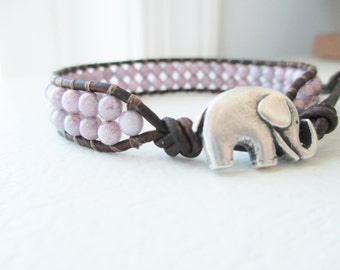 Lucky Elephant Beaded Wrap Cuff Bracelet - Light Lavender Leather Cuff