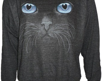 "Blue CAT Eyes Black Cat Face Pullover Slouchy ""Sweatshirt""  Top American Apparel  s, m, or L"