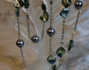 Smoke and Blue Mother of  Pearl and Chain Necklace
