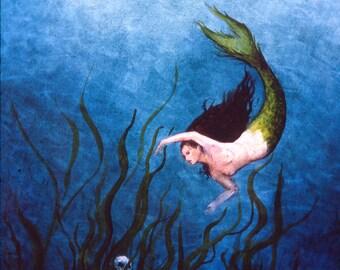 Mermaid painting, Oil Painting, skeleton and mermaid, 5 x 7 Giclee Print, goddess of the sea, Ocean painting, Fantasy Art