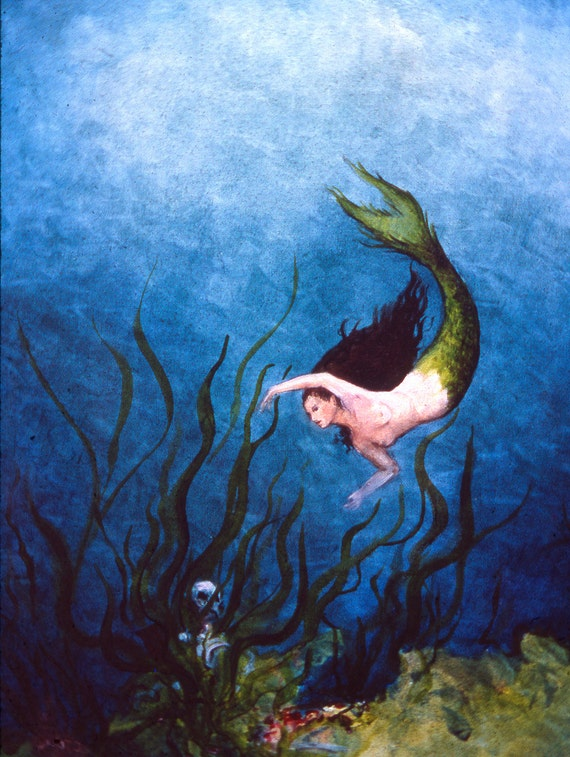 Mermaid painting Oil Painting skeleton and mermaid 5 x 7