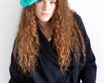 Ligth Green Handmade Big Beret Hat, Pre- winter Sale